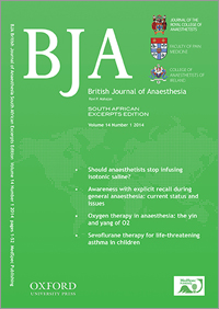 British Journal of Anaesthesia, South African Excerpts Edition